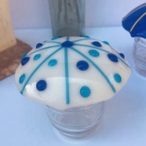 Blue Dotted Mushroom With Stripes