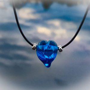 Blue Love Heart Lampwork Bead Necklace