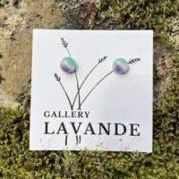 Handmade Stud Glass Earrings – Green And Purple Marble